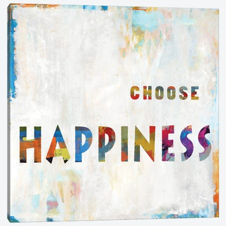 Choose Happiness In Color Canvas Print #DWL9} by Janie Macdowell Canvas Art Print