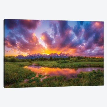 Grand Sunset in the Tetons Canvas Print #DWP108} by Darren White Photography Art Print