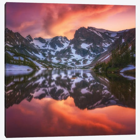 Indian Peaks Reflection Canvas Print #DWP121} by Darren White Photography Canvas Art Print