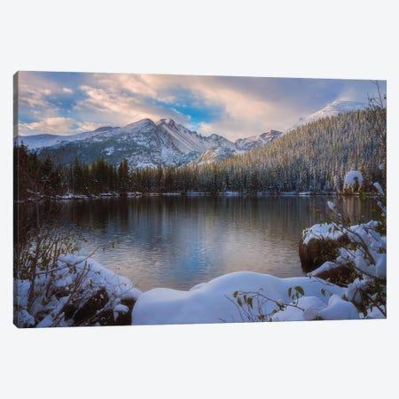 Longs Peak Snowy Sunrise Canvas Print #DWP139} by Darren White Photography Canvas Wall Art