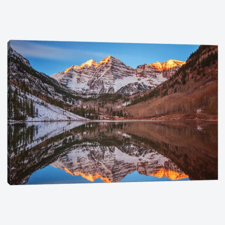 Maroon Bells Alpenglow Canvas Print #DWP145} by Darren White Photography Canvas Wall Art