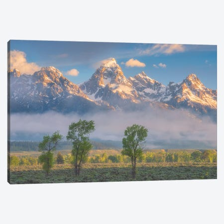 Morning Fog In The Tetons Canvas Print #DWP159} by Darren White Photography Canvas Artwork