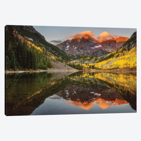 Sunkissed Peaks Bright Canvas Print #DWP236} by Darren White Photography Canvas Artwork
