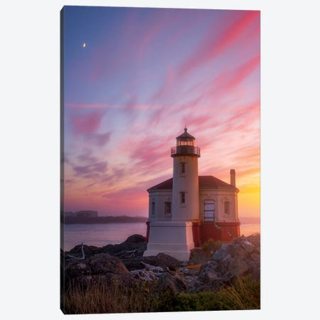 Lighthouse Moon Canvas Print #DWP3} by Darren White Photography Canvas Artwork