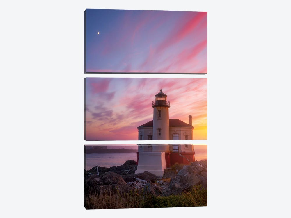 Lighthouse Moon by Darren White Photography 3-piece Canvas Artwork