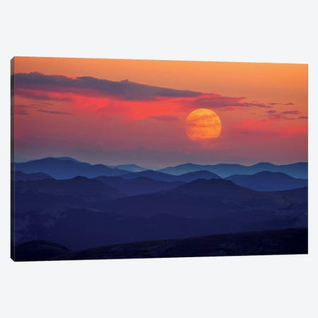 Supermoon At Sunrise Canvas Print #DWP6} by Darren White Photography Canvas Art Print