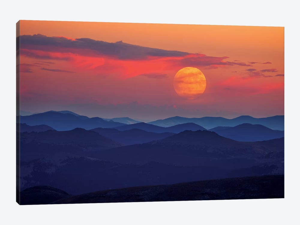 Supermoon At Sunrise by Darren White Photography 1-piece Canvas Art Print