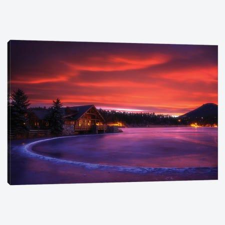 Everygreen Lake Sunrise Canvas Print #DWP80} by Darren White Photography Art Print