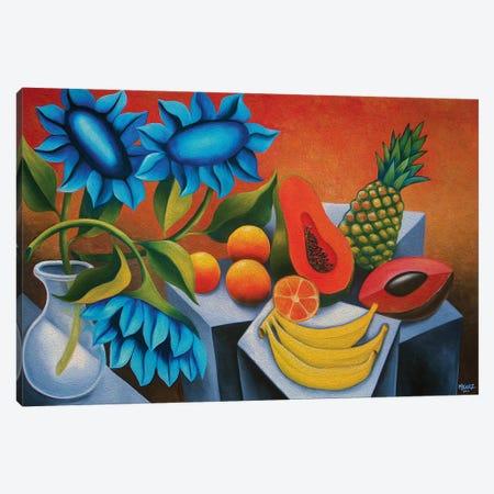 Fruits With Blue Flower Canvas Print #DXM14} by Dixie Miguez Canvas Artwork