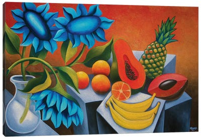 Fruits With Blue Flower Canvas Art Print