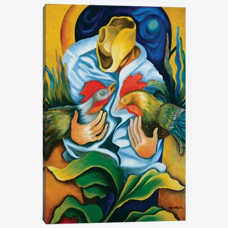 Guajiro With Roosters Canvas Print #DXM16} by Dixie Miguez Canvas Art