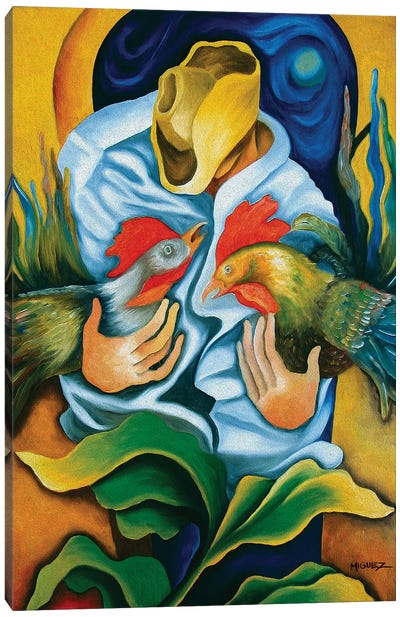 Guajiro With Roosters Canvas Art Print