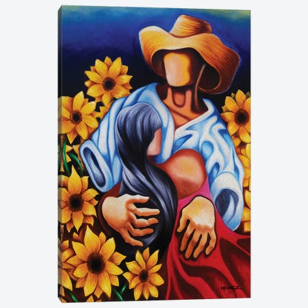 Romance With In Sunflowers 3-Piece Canvas #DXM32} by Dixie Miguez Canvas Print