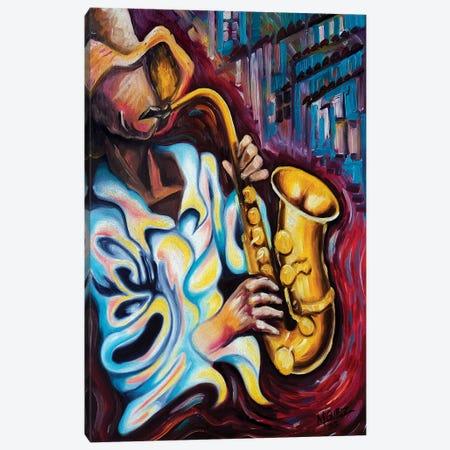 Sax Player Canvas Print #DXM38} by Dixie Miguez Art Print