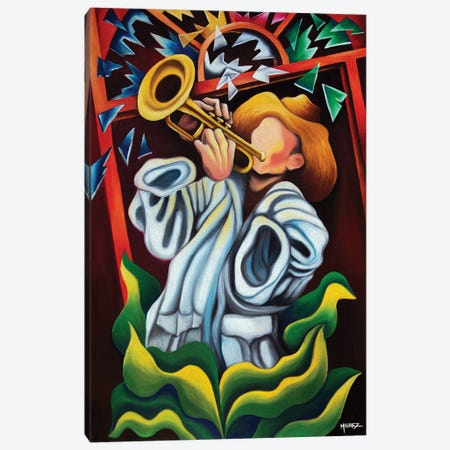 Trumpet On Plants Canvas Print #DXM48} by Dixie Miguez Canvas Artwork