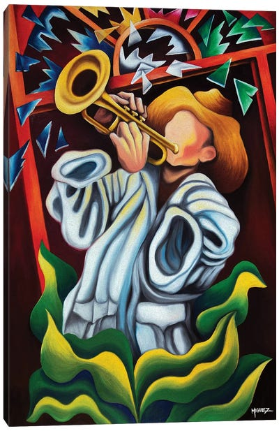 Trumpet On Plants Canvas Art Print
