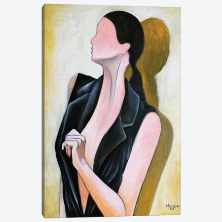 Study Of Female With Black Vest Canvas Print #DXM58} by Dixie Miguez Canvas Art Print
