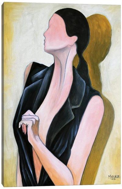 Study Of Female With Black Vest Canvas Art Print