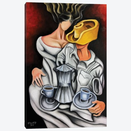 Coffee And Coffeemaker Canvas Print #DXM5} by Dixie Miguez Canvas Wall Art