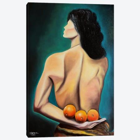 Three Oranges Canvas Print #DXM63} by Dixie Miguez Canvas Wall Art