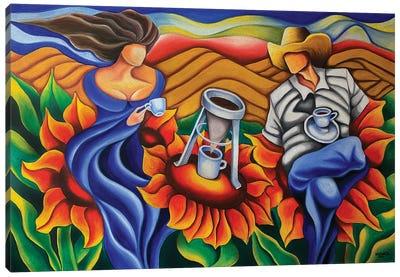 Coffee On Flowers Canvas Art Print