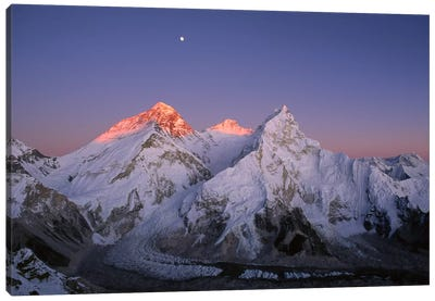Moon Over Summit Of Mount Everest, Lhotse, And Nuptse As Seen From Mount Pumori, Sagarmatha National Park, Nepal Canvas Art Print