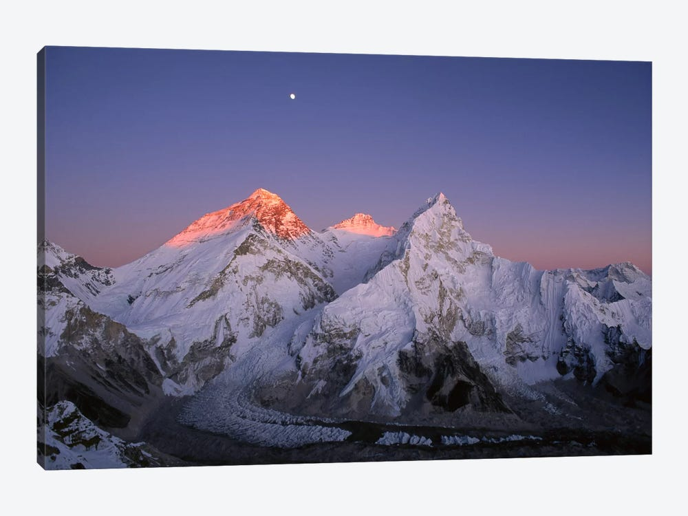 Moon Over Summit Of Mount Everest, Lhotse, And Nuptse As Seen From Mount Pumori, Sagarmatha National Park, Nepal by Grant Dixon 1-piece Canvas Art