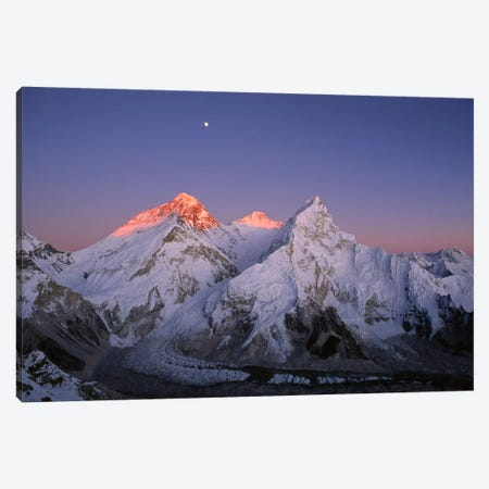 Moon Over Summit Of Mount Everest, Lhotse, And Nuptse As Seen From Mount Pumori, Sagarmatha National Park, Nepal Canvas Print #DXN1} by Grant Dixon Canvas Art