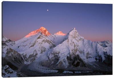 Moon Over Summit Of Mount Everest, Lhotse, And Nuptse As Seen From Mount Pumori, Sagarmatha National Park, Nepal Canvas Art Print