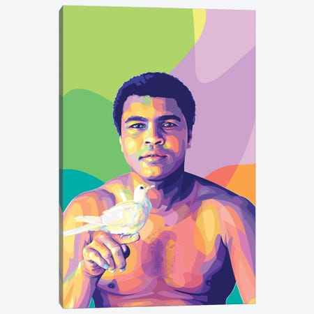 Muhammad Ali and The Dove Canvas Print #DYB104} by Dayat Banggai Canvas Art Print