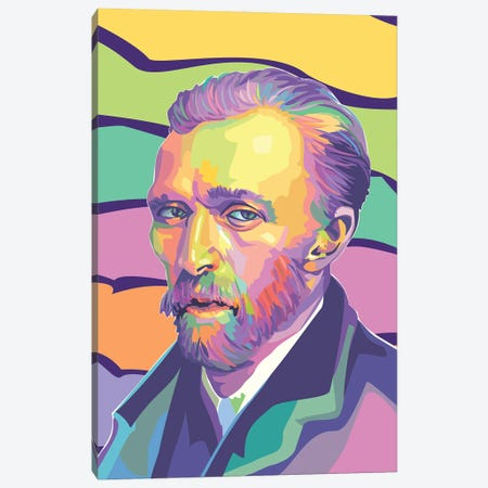Vincent van Gogh Colorful Portrait Canvas Print #DYB120} by Dayat Banggai Canvas Artwork