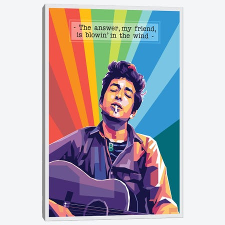 Bob Dylan Quote Canvas Print #DYB12} by Dayat Banggai Art Print