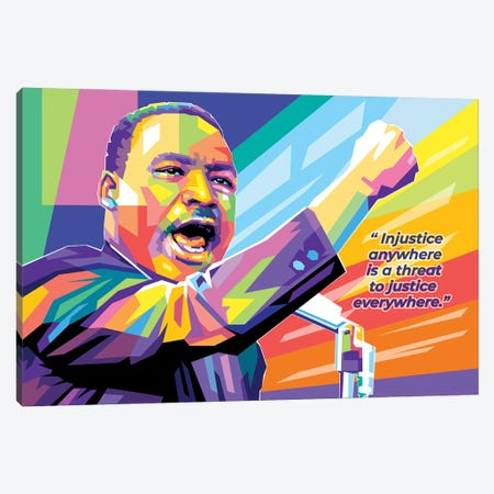 Martin Luther King JR with Qoute Canvas Print #DYB198} by Dayat Banggai Canvas Print