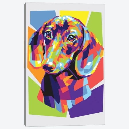 Dachshund Canvas Print #DYB22} by Dayat Banggai Canvas Wall Art