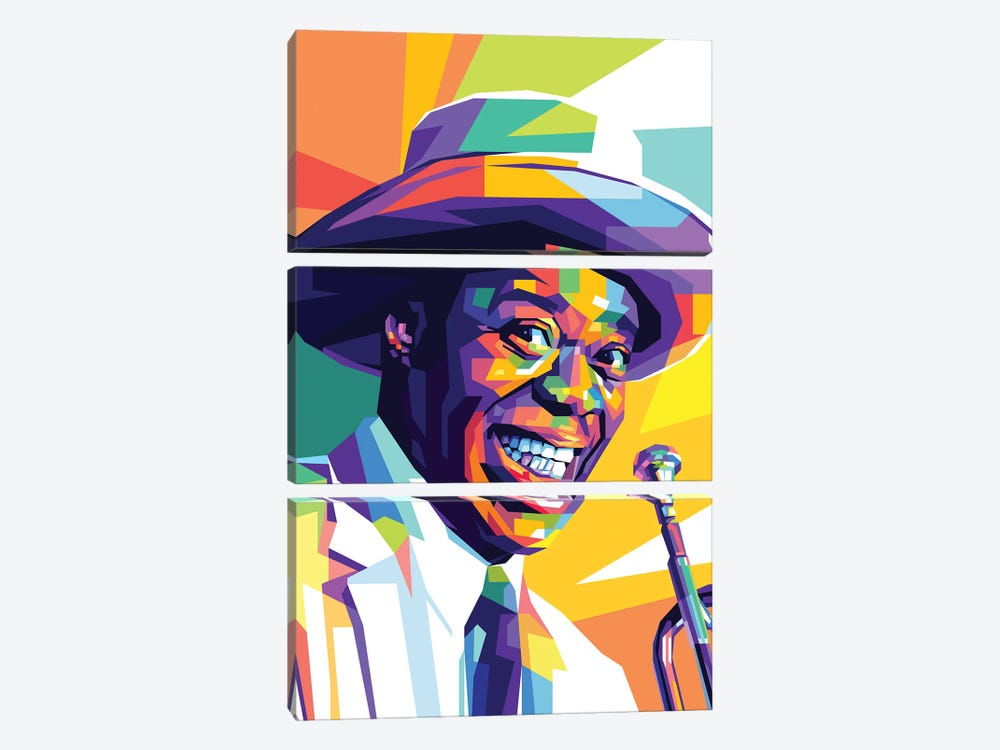 Louis Armstrong by Dayat Banggai 3-piece Canvas Wall Art