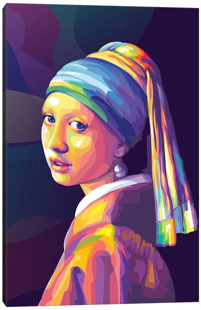 Re-creation of Girl with a Pearl Earring Colorful Version Canvas Art Print