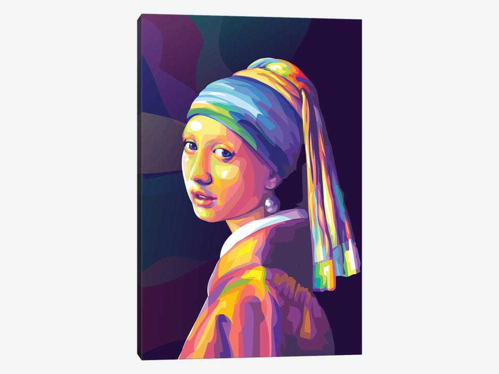 Re-creation of Girl with a Pearl Earring Colorful Version by Dayat Banggai 1-piece Canvas Artwork