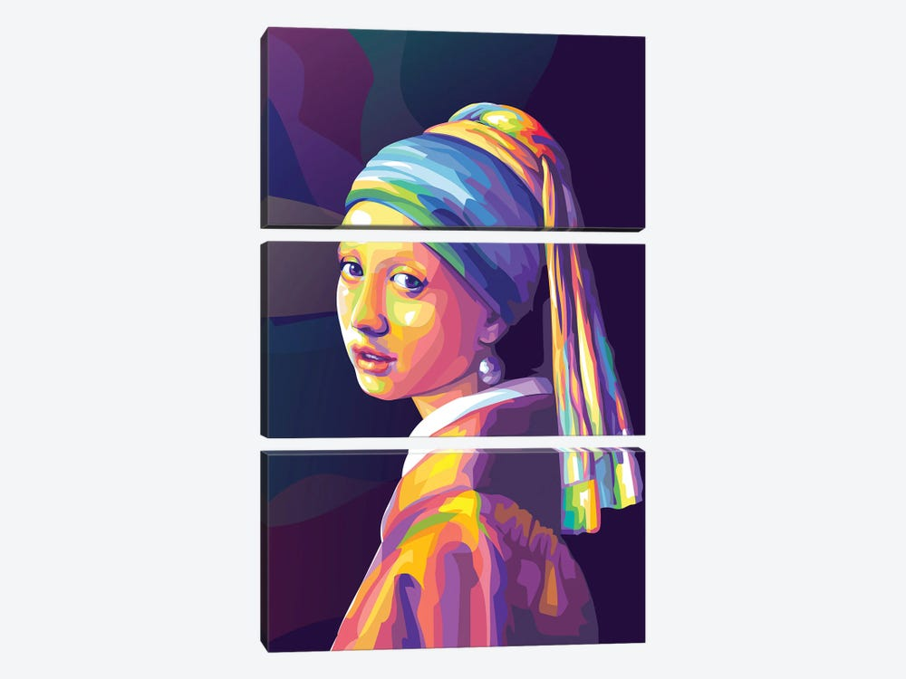 Re-creation of Girl with a Pearl Earring Colorful Version by Dayat Banggai 3-piece Canvas Wall Art