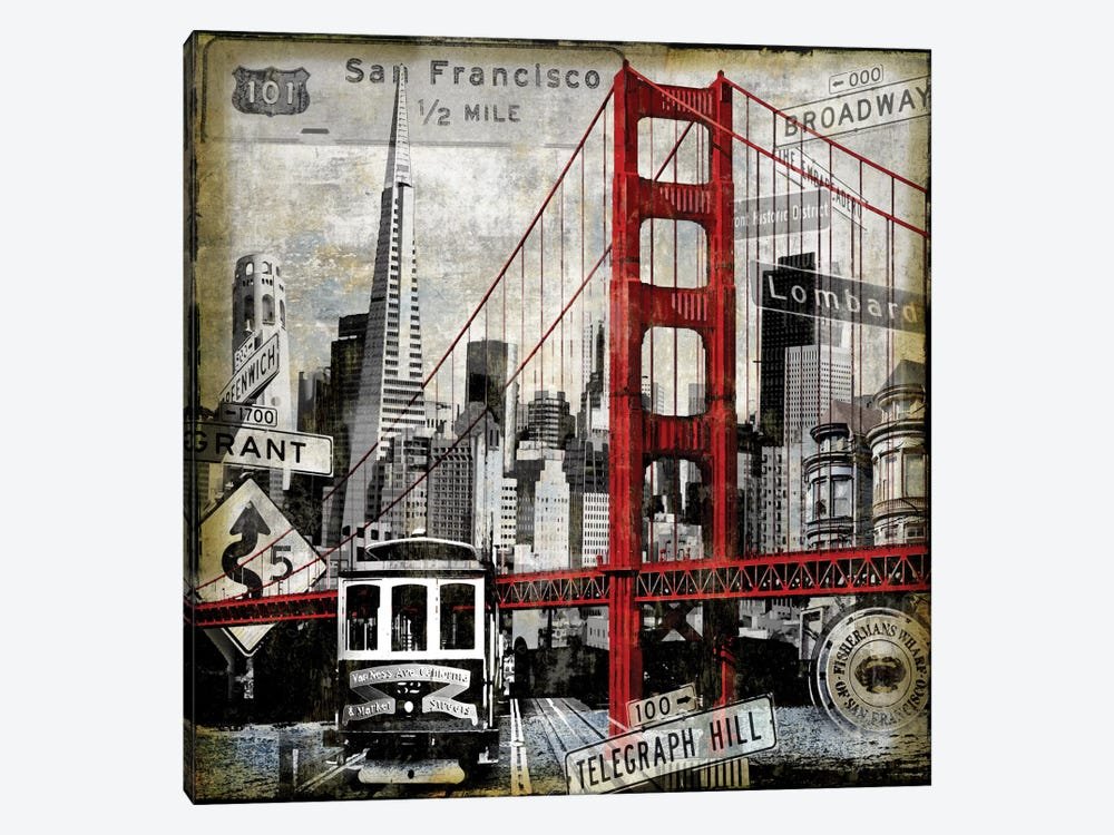Landmarks San Francisco by Dylan Matthews 1-piece Canvas Print