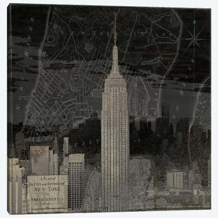 Vintage New York In Black I Canvas Print #DYM24} by Dylan Matthews Canvas Art