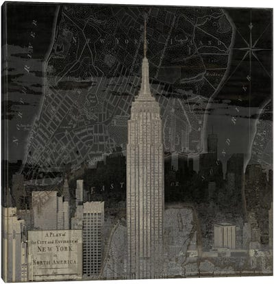 Vintage New York In Black I Canvas Art Print