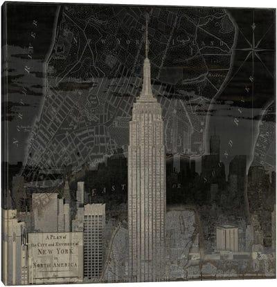 Vintage New York In Black I Canvas Print #DYM24