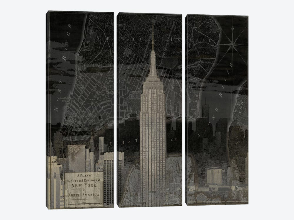 Vintage New York In Black I by Dylan Matthews 3-piece Art Print