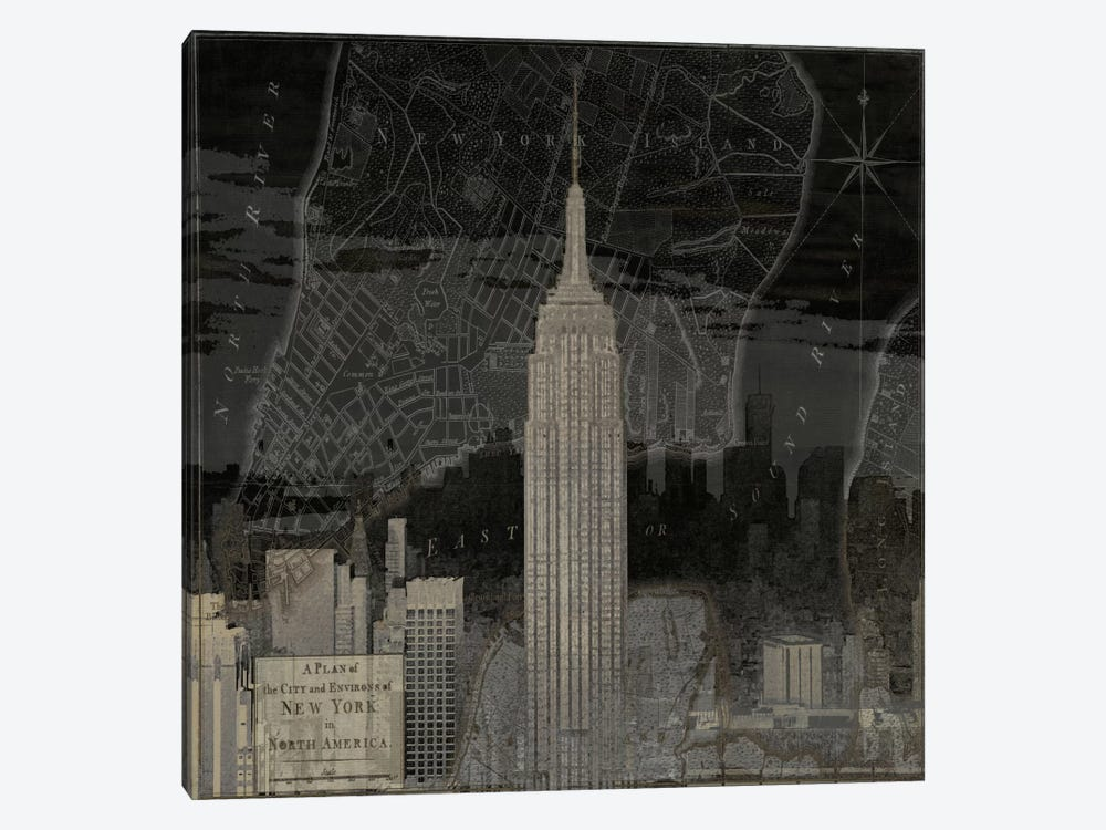 Vintage New York In Black I by Dylan Matthews 1-piece Canvas Print