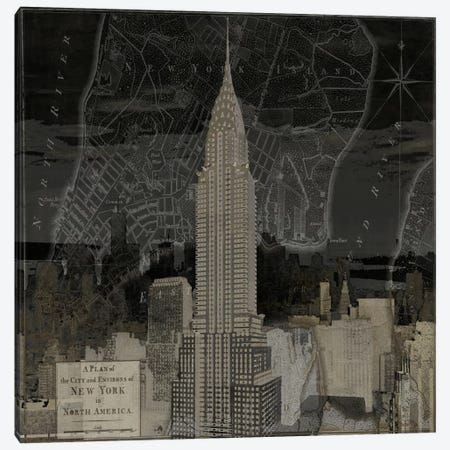 Vintage New York In Black II Canvas Print #DYM25} by Dylan Matthews Canvas Wall Art