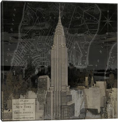 Vintage New York In Black II Canvas Art Print