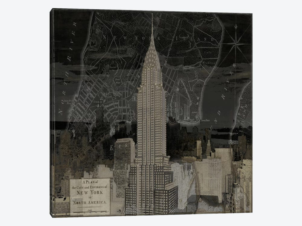Vintage New York In Black II by Dylan Matthews 1-piece Canvas Art