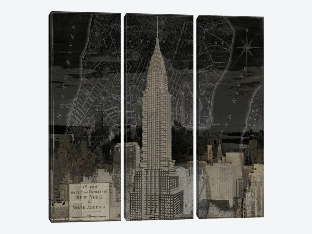 Vintage New York In Black II by Dylan Matthews 3-piece Canvas Art