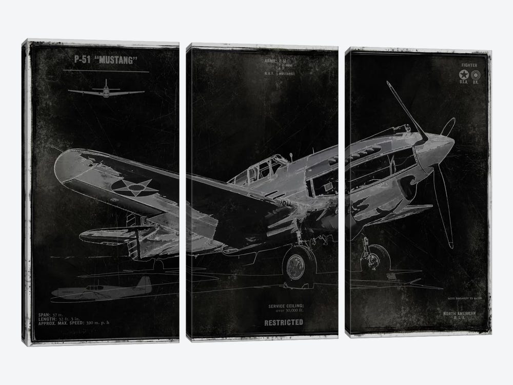 Vintage War Plane by Dylan Matthews 3-piece Canvas Wall Art