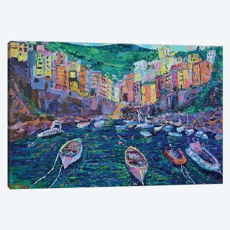 Fishing boats of Riomaggiore Canvas Print #DZB15} by Adriana Dziuba Canvas Wall Art